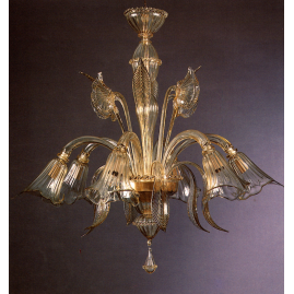 GOLD CRYSTAL MURANO GLASS CHANDELIER